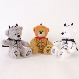 Skeleton Teddy Bear Plush With Cape & Hat